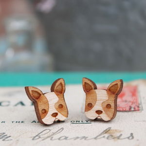 Wooden French Bulldog Stud Earrings