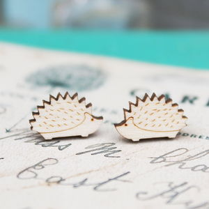 Wooden Hedgehog Stud Earrings - earrings