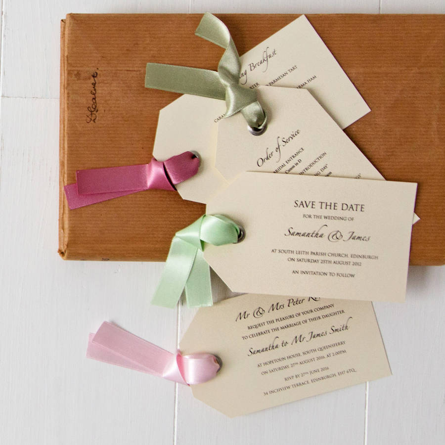 luggage tag wedding invitation by twenty-seven | notonthehighstreet.com