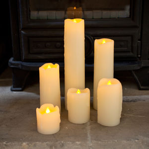 Set Of Six Skinny Battery LED Candles - room decorations