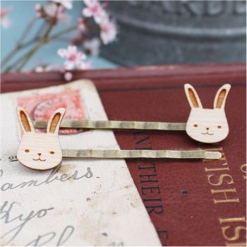 Wooden Bunny Rabbit Hair Grips