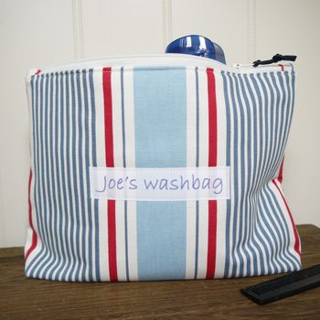 Personalised Men's Striped Washbag