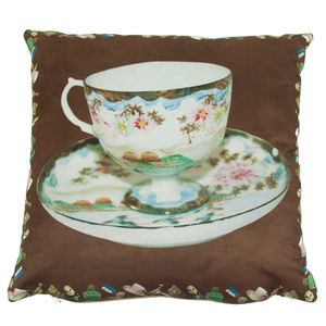 Jenny Collicott Vintage Cup Cushion - bedroom