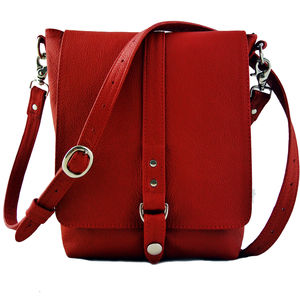 Red Leather Merritt Messenger Bag