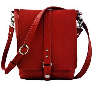 Red Leather Merritt Messenger Bag - bags & purses