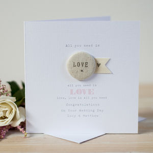 'Love' Button Wedding Or Engagement Card