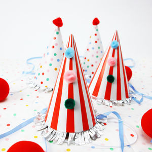 Circus Party Stripy And Spotty Hats - children's birthday