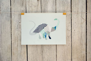 Geometric Diplodocus Print - pictures & prints for children