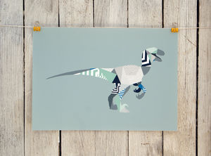 Geometric Velociraptor Print - children's pictures & paintings