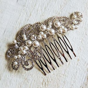 Large Pearl Filigree Hair Comb - wedding fashion