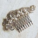 Large Pearl Filigree Hair Comb