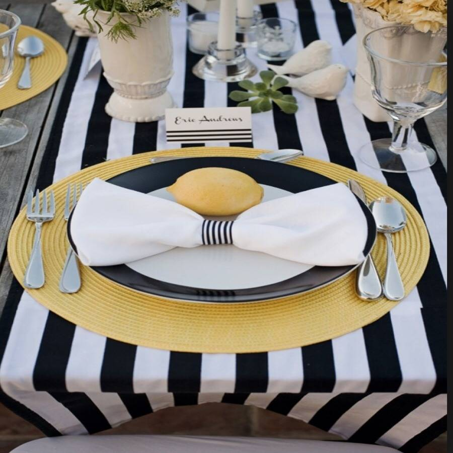 Black And White Satin Stripe Table Runner By Magpie Decor