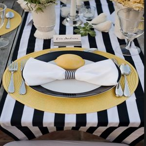 Black And White Satin Stripe Table Runner - med-inspired wedding styling