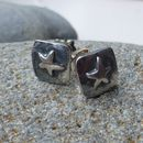 Silver Square Star Stud Earrings