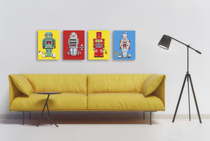 Sparking Robot Pop Art Canvas Print