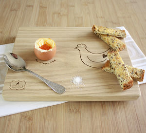 Hen Dippy Egg Board - egg cups & cosies