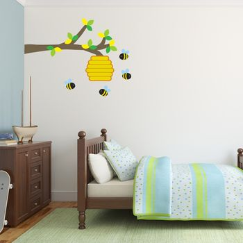 Bee Hive And Branch Wall Sticker
