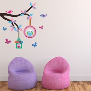 Bird Houses Branch Wall Sticker