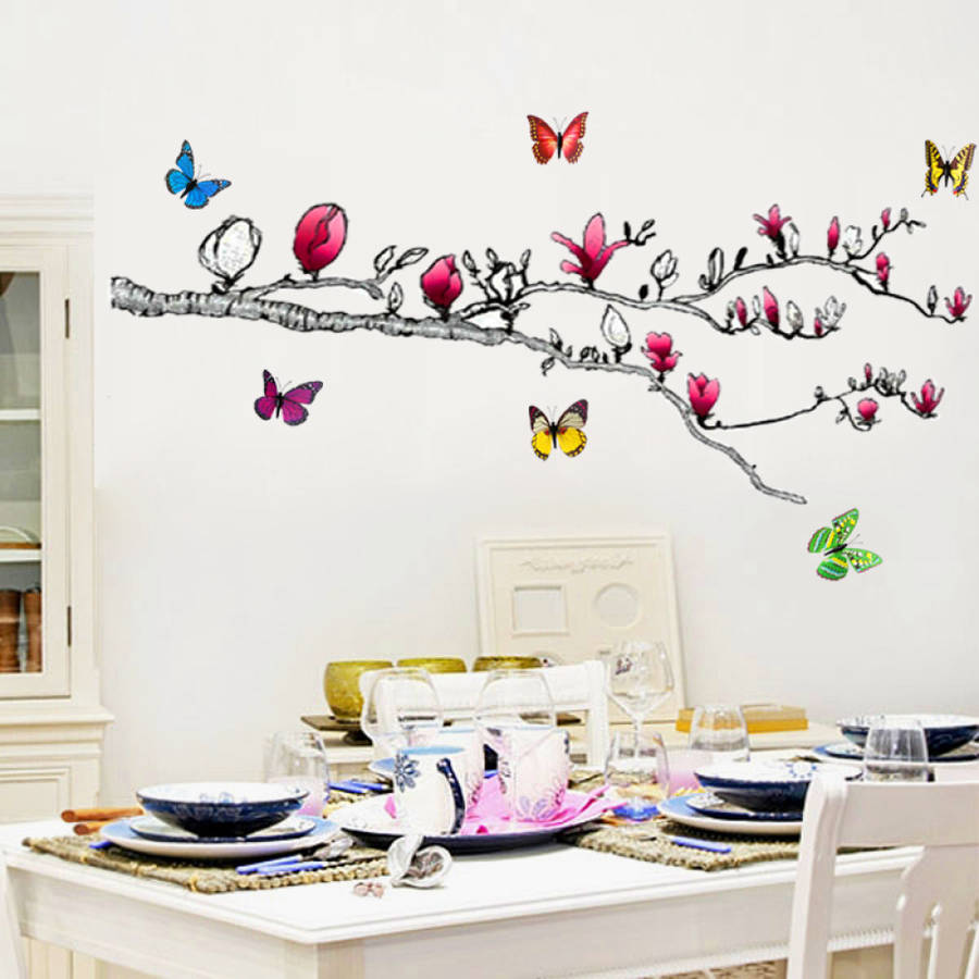 Butterfly wall decals large 100 butterfly home decor for Butterfly wall mural