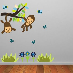 Monkey Tree Scene Wall Sticker - wall stickers