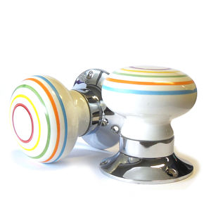 Colourful Striped Internal Turning Mortice Door Knobs - door knobs & handles