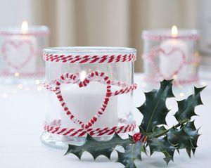 Christmas Glass Candle Holder With Heart - votives & tea light holders