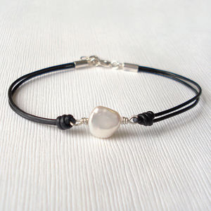 Freshwater Pearl And Leather Bracelet - women's jewellery