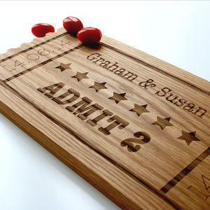 Admit Two Cinema Ticket Solid Oak Platter Board - wedding gifts