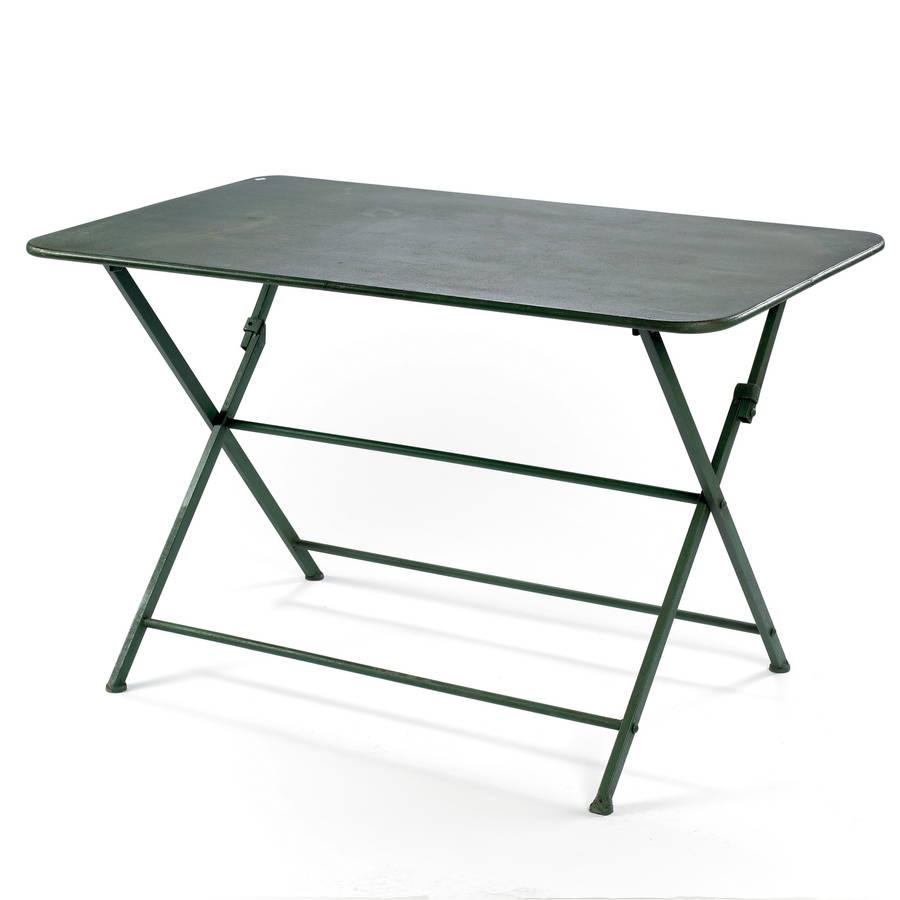 Folding metal garden table by out there exteriors for Table ikea pliante