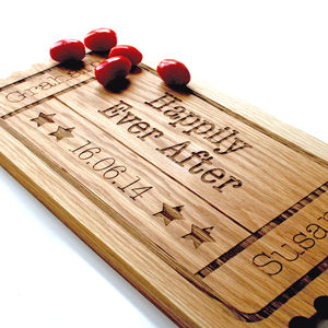 Personalised Wedding Gift Oak Wood Sharing Board - trivets