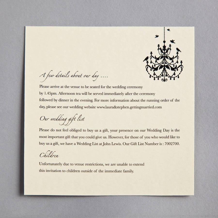 chandelier wedding invitation by twenty-seven | notonthehighstreet.com
