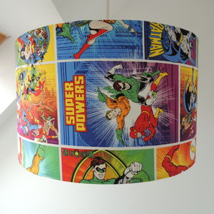 Handmade Lampshade In Dc Comics Fabric