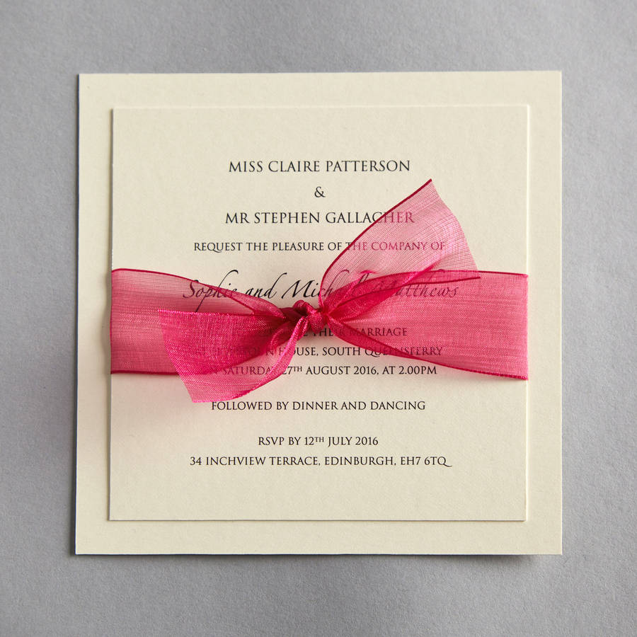 organza wedding invitation by twenty-seven | notonthehighstreet.com