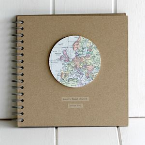 Personalised Vintage Map Globe Travel Journal - frequent traveller
