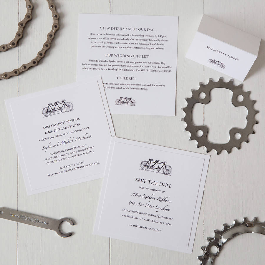 tandem bicycle wedding invitation by twentyseven