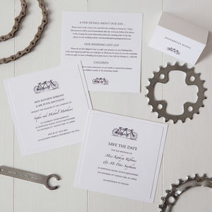Tandem Bicycle Wedding Invitation - save the date cards