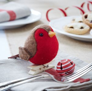 Peg On Robin Red Breast Decoration - decorative accessories