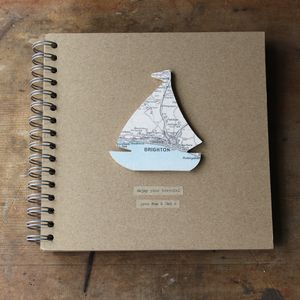 Personalised Vintage Map Boat Travel Journal - for travel-lovers