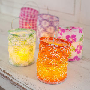 Set Of Five Boho Lanterns With LED Tea Lights - candles & home fragrance