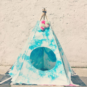 Sky Tie Dye Cat And Dog Tipi - dogs