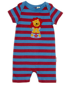 Red And Blue Striped Lion Summer Romper - babygrows