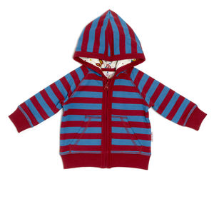 Lucy And Sam Red And Blue Striped Hoody - babies' jumpers
