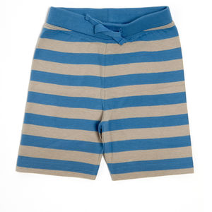 Lucy And Sam Grey And Blue Striped Jersey Shorts - baby & child