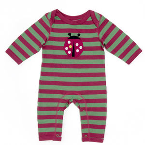Lucy And Sam Pink And Green Striped Ladybird Romper
