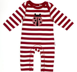 Lucy And Sam Red And White Striped Ladybird Romper - babygrows