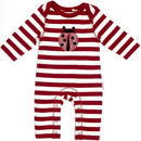 Lucy And Sam Red And White Striped Ladybird Romper
