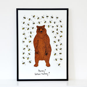 Bear And The Bees Screen Print - animals & wildlife