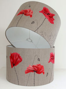 Poppy Lampshade On Linen - table lamps
