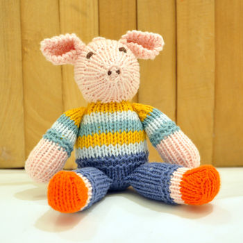 Pig in Orange and Blue Striped Top