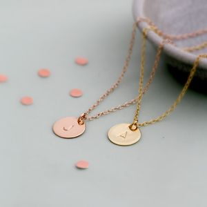 Personalised Initial Disc Necklace - gifts for friends